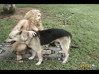 Blonde And Black Girl Fucks Dog (part 1)